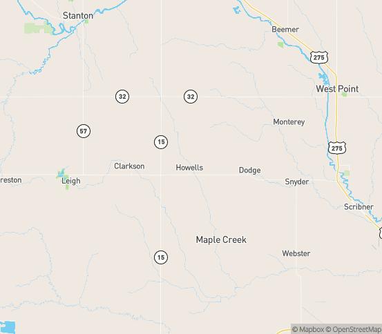 Map of Howells, NE