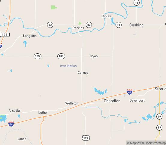Map of Carney, OK