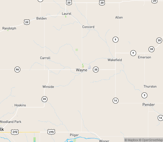 Map of Wayne, NE