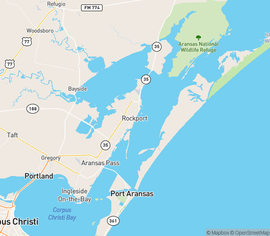 Map of Rockport, TX
