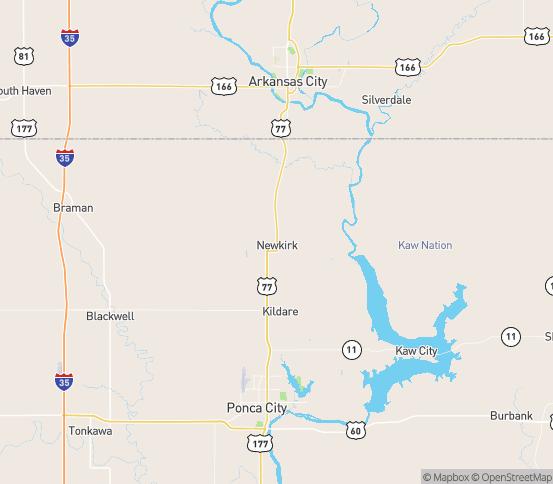 Map of Newkirk, OK