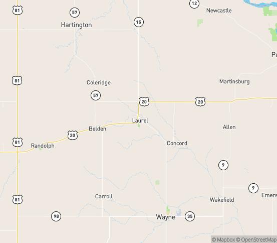 Map of Laurel, NE
