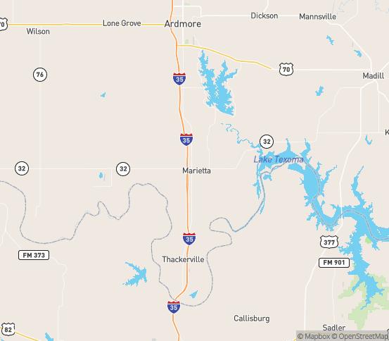Map of Marietta, OK
