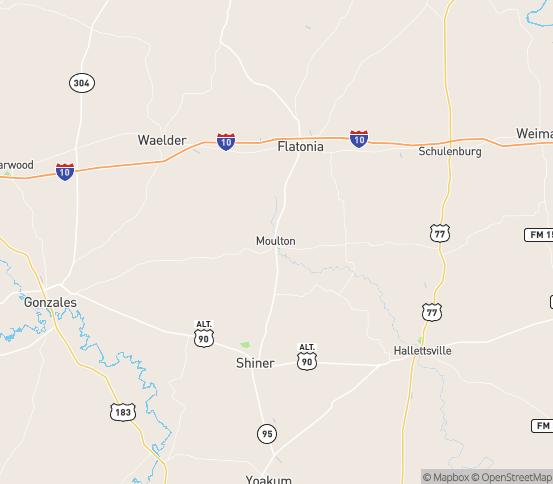 Map of Moulton, TX