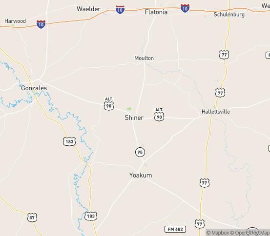 Map of Shiner, TX