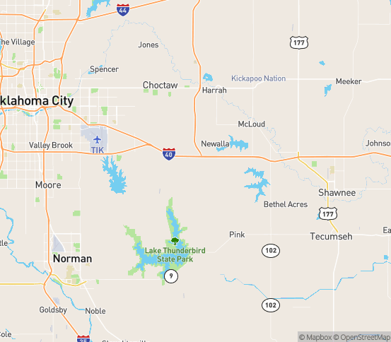 Map of Newalla, OK