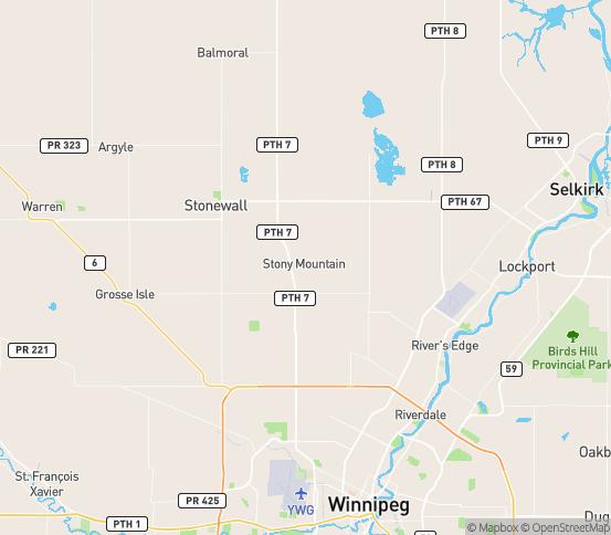 Map of Sanford, MB