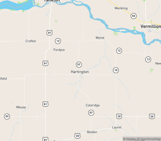 Map of Hartington, NE