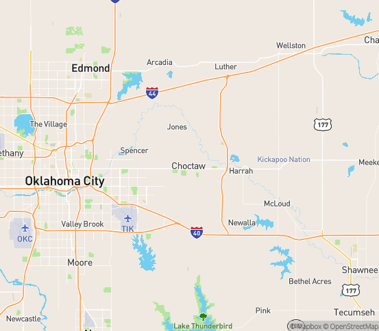 Map of Choctaw, OK