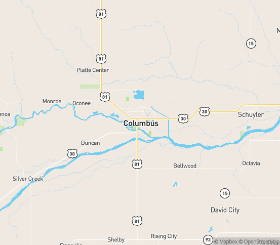 Map of Columbus, NE