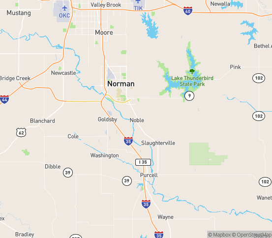 Map of Noble, OK