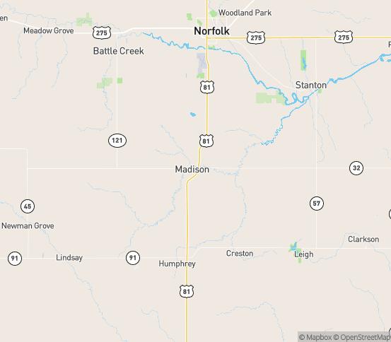Map of Madison, NE