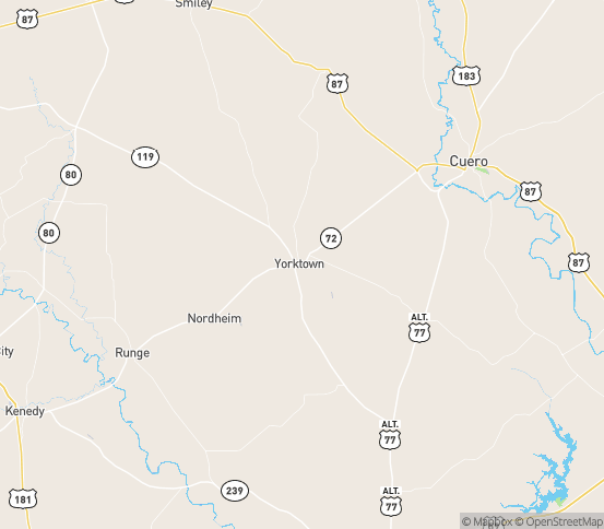 Map of Yorktown, TX
