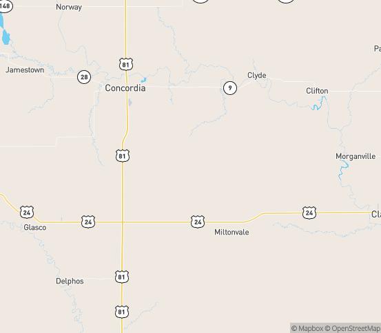 Map of Miltonvale, KS