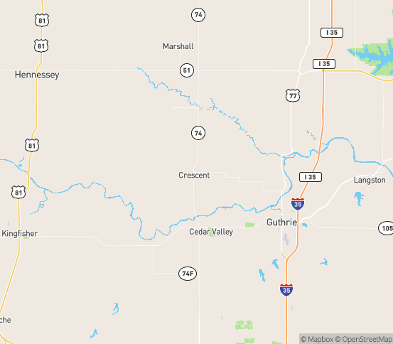 Map of Crescent, OK