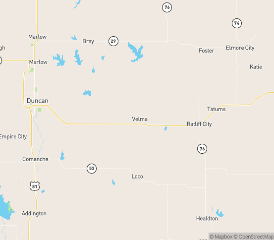 Map of Tussy, OK
