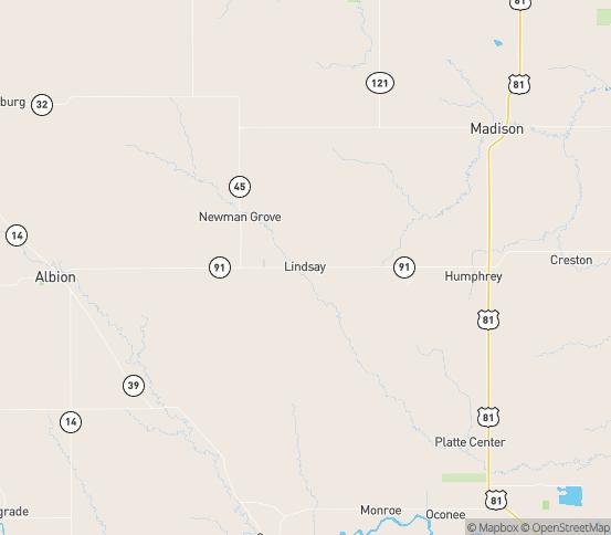 Map of Lindsay, NE