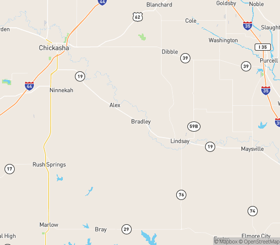 Map of Bradley, OK