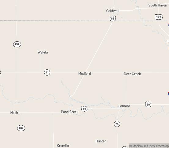 Map of Medford, OK