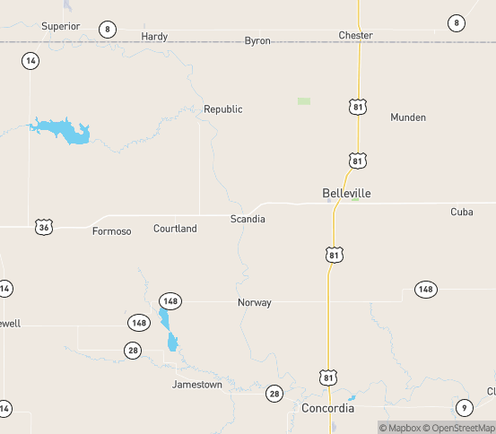 Map of Scandia, KS