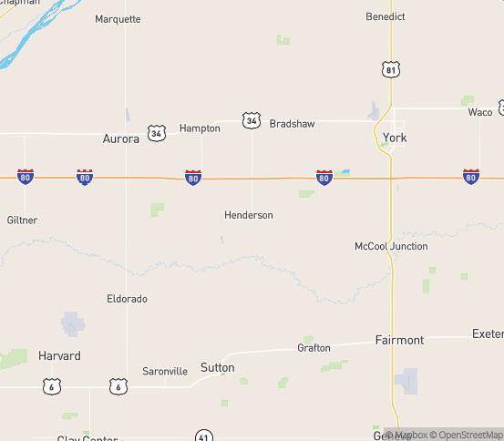 Map of Henderson, NE