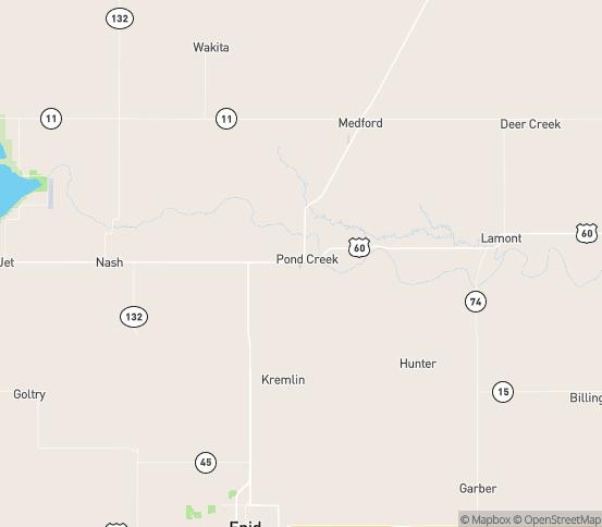 Map of Pond Creek, OK