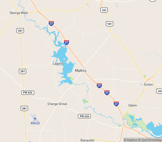 Map of Mathis, TX