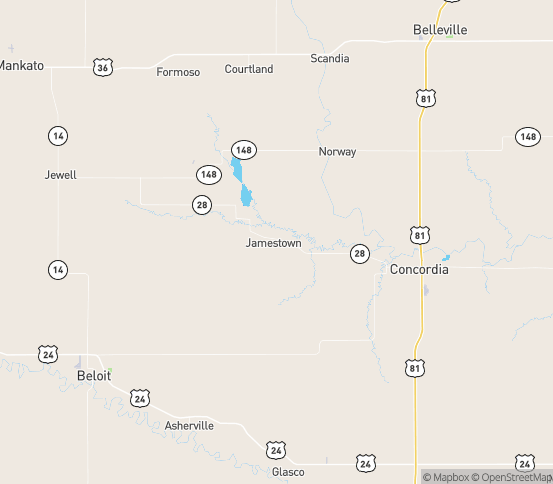 Map of Jamestown, KS