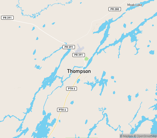 Map of Thompson, MB