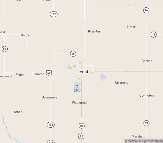 Map of Enid, OK
