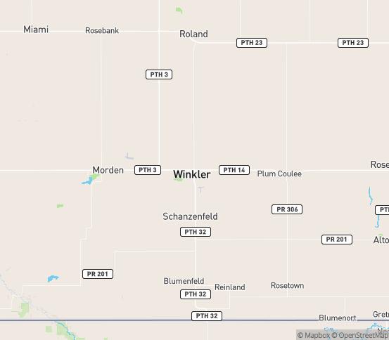 Map of Winkler, MB