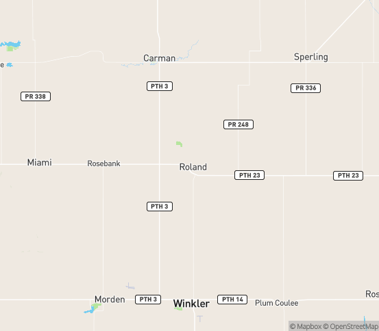 Map of Roland, MB