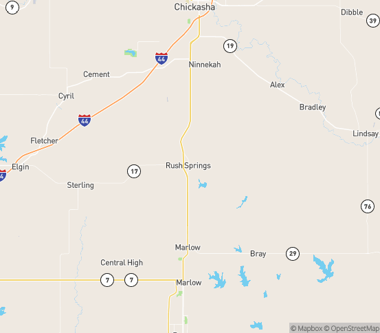 Map of Rush Springs, OK