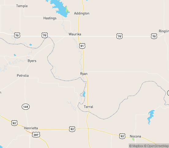 Map of Ryan, OK