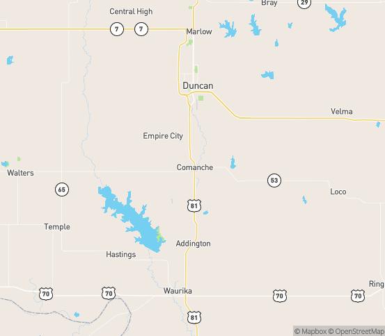 Map of Comanche, OK