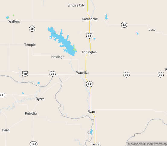 Map of Waurika, OK