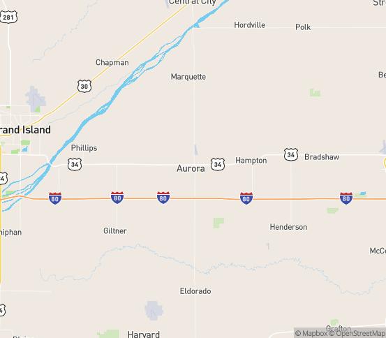 Map of Aurora, NE