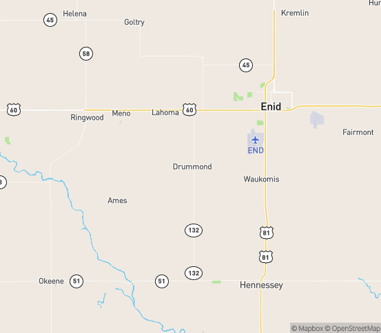 Map of Drummond, OK