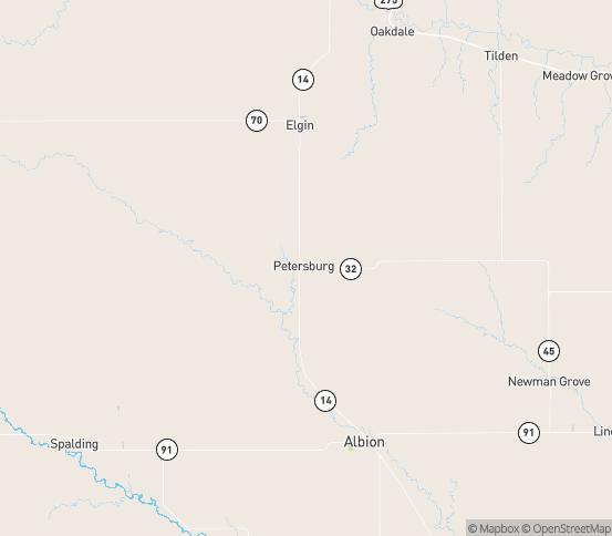 Map of Petersburg, NE