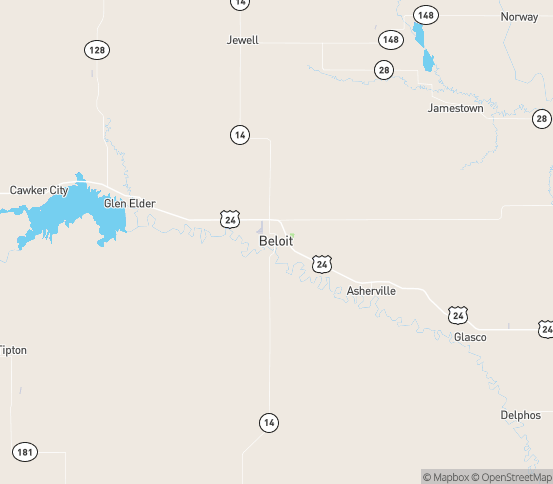Map of Beloit, KS