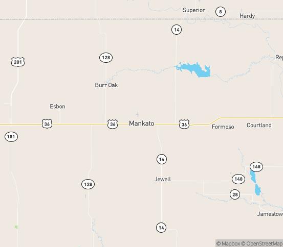 Map of Mankato, KS