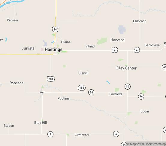 Map of Glenvil, NE