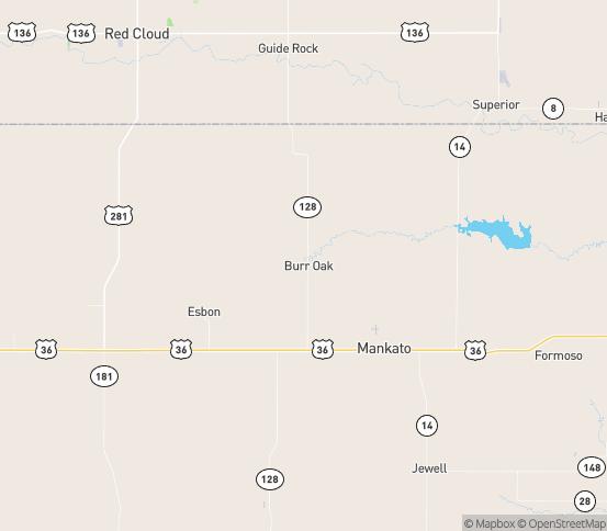 Map of Burr Oak, KS