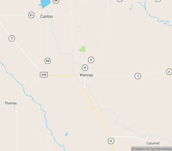 Map of Watonga, OK