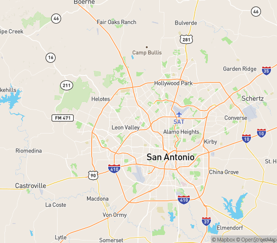 Map of San Antonio, TX