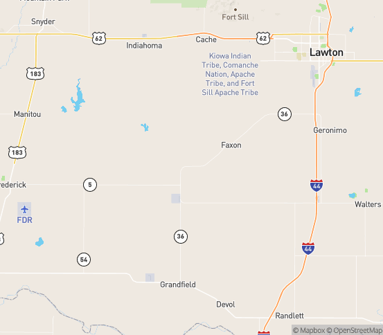 Map of Faxon, OK