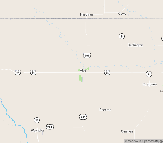 Map of Alva, OK