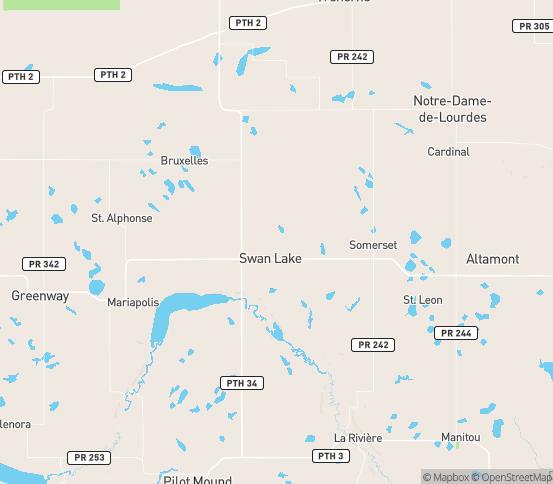 Map of Swan Lake, MB