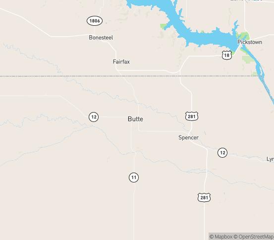 Map of Butte, NE