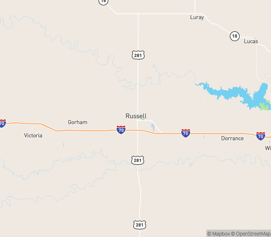 Map of Russell, KS